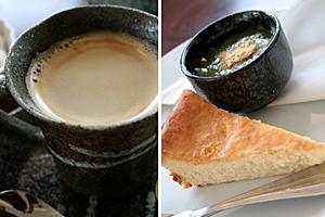 ワラビ餅とチーズケーキ