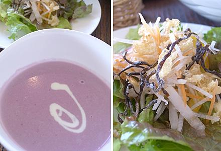 カフェ・くろねこ☆セットのサラダとスープ
