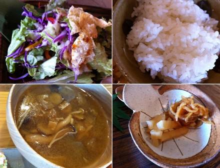 サラダ・味噌汁・ごはん・漬け物